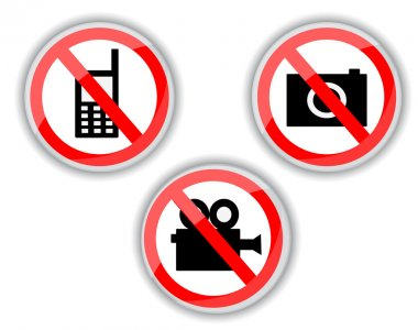 prohibiting signs with telephone, video and photo camera