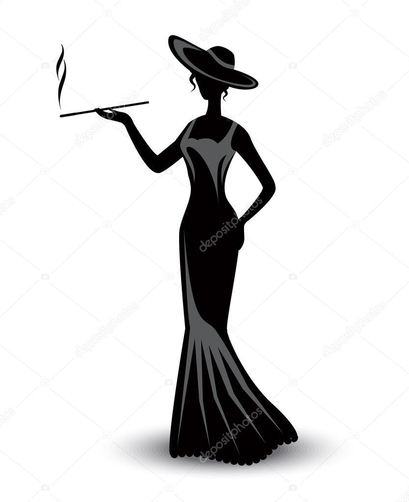 une rétro et robe Femme silhouette longue dans qui élégante fume chapeau un 8IIqzw4Zc