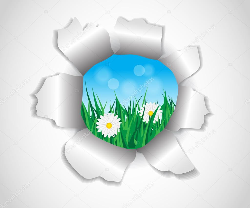 hole in the paper which grass and flowers