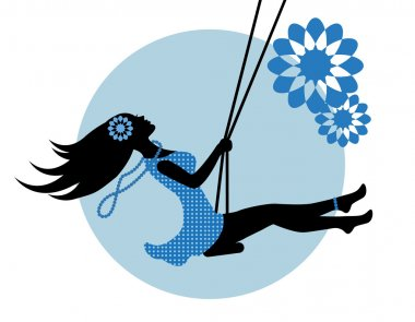 Silhouette of a woman in a blue dress on a swing clip art vector
