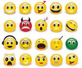 Fotografie Satz von Runde gelbe emoticons