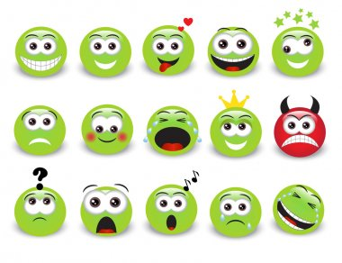 Set of green expressive emoticons with shadow stock vector