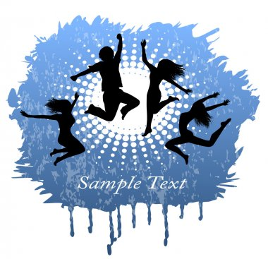 Abstract background with silhouettes of people jumping