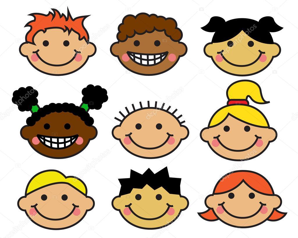Dibujos De NiÑos Por Nacionalidades: Para Niños De Dibujos Animados Caras Diferentes