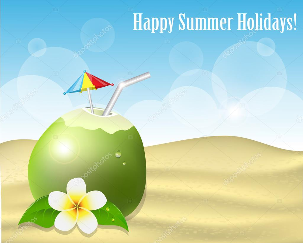Summer background with coconut on the sand