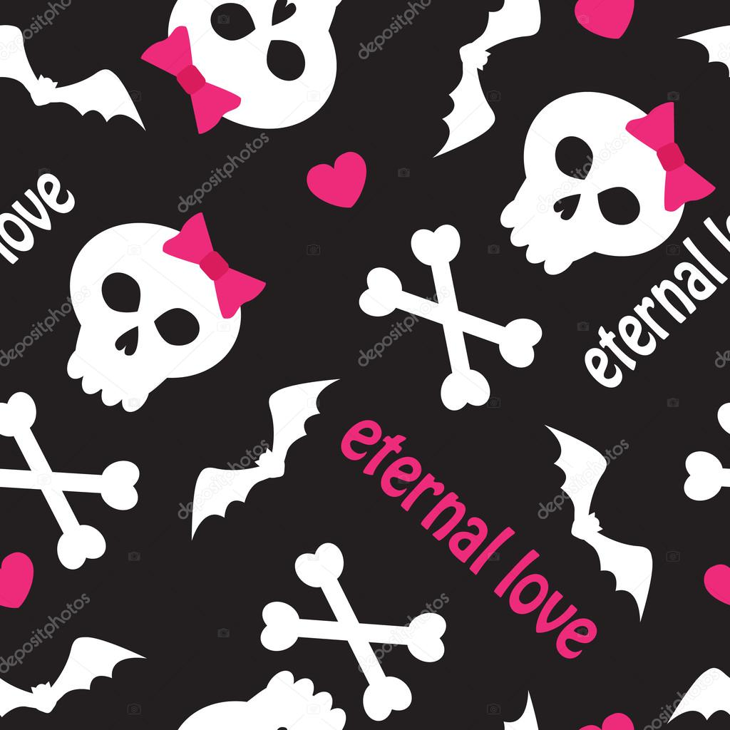 Seamless pattern with skulls, bones and hearts