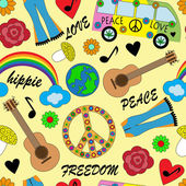 Photo Seamless bright background with accessories hippies