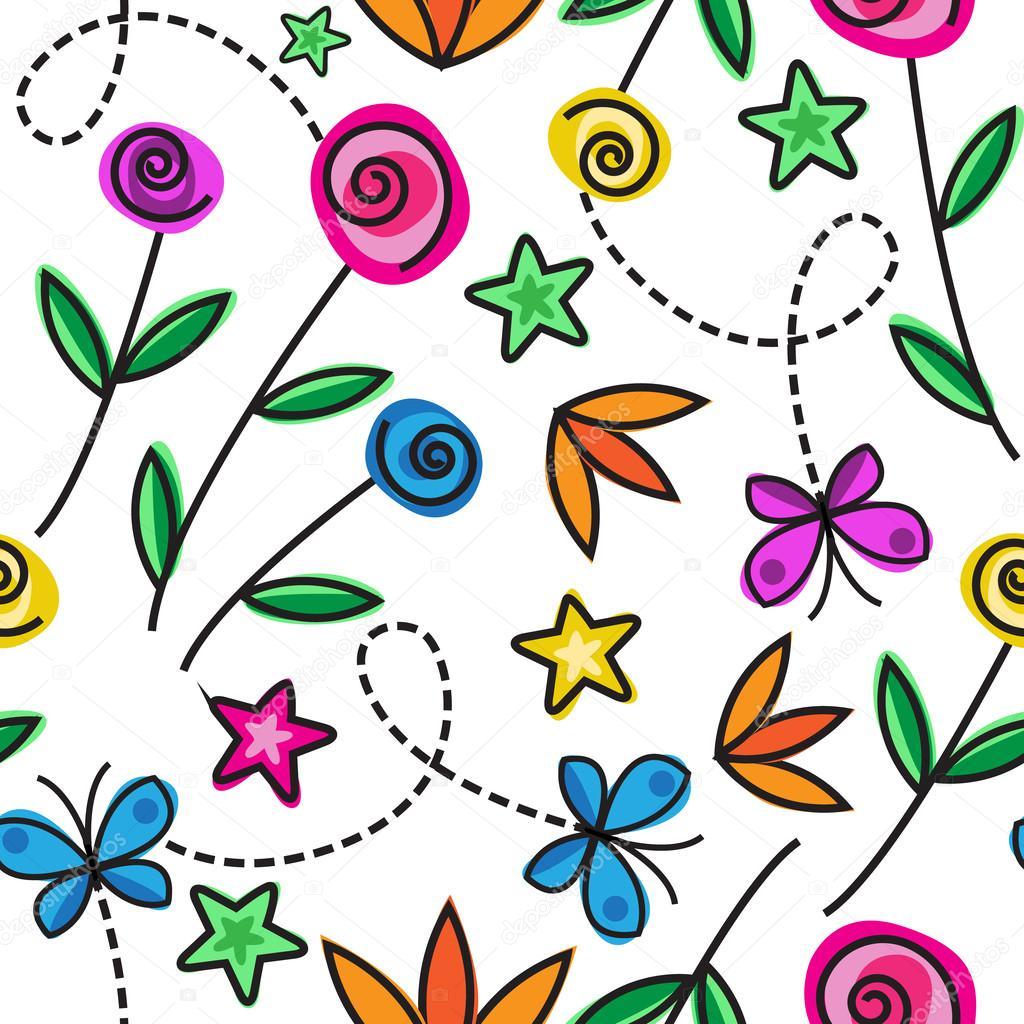 Patrón Sin Costuras De Dibujos Animados Con Flores Y Mariposas