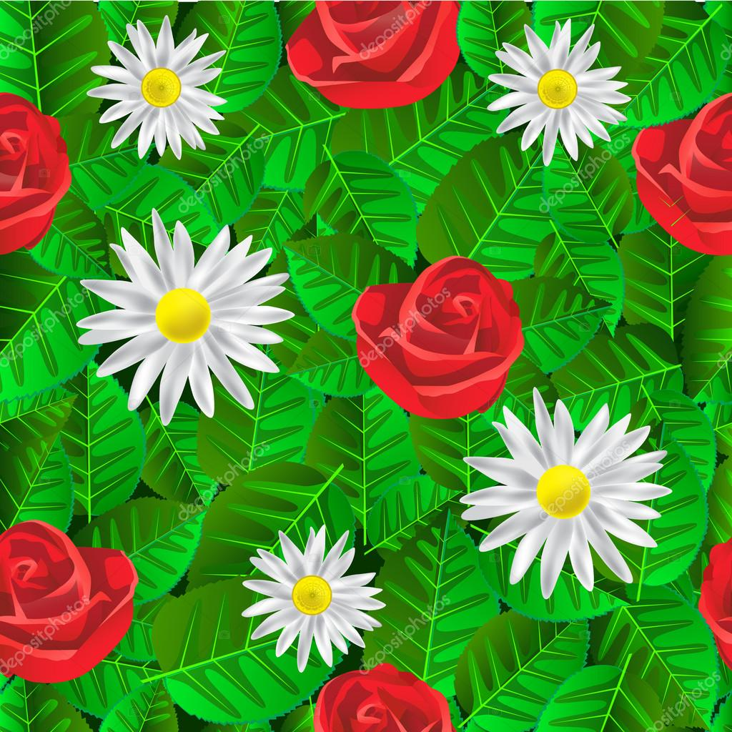 Seamless pattern with leaves, daisies and roses