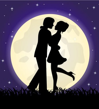 Silhouettes of a loving couple standing in front of the moon and the sky clip art vector