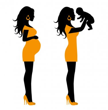 Silhouette of a pregnant woman and a silhouette of a woman with a small child in her arms stock vector