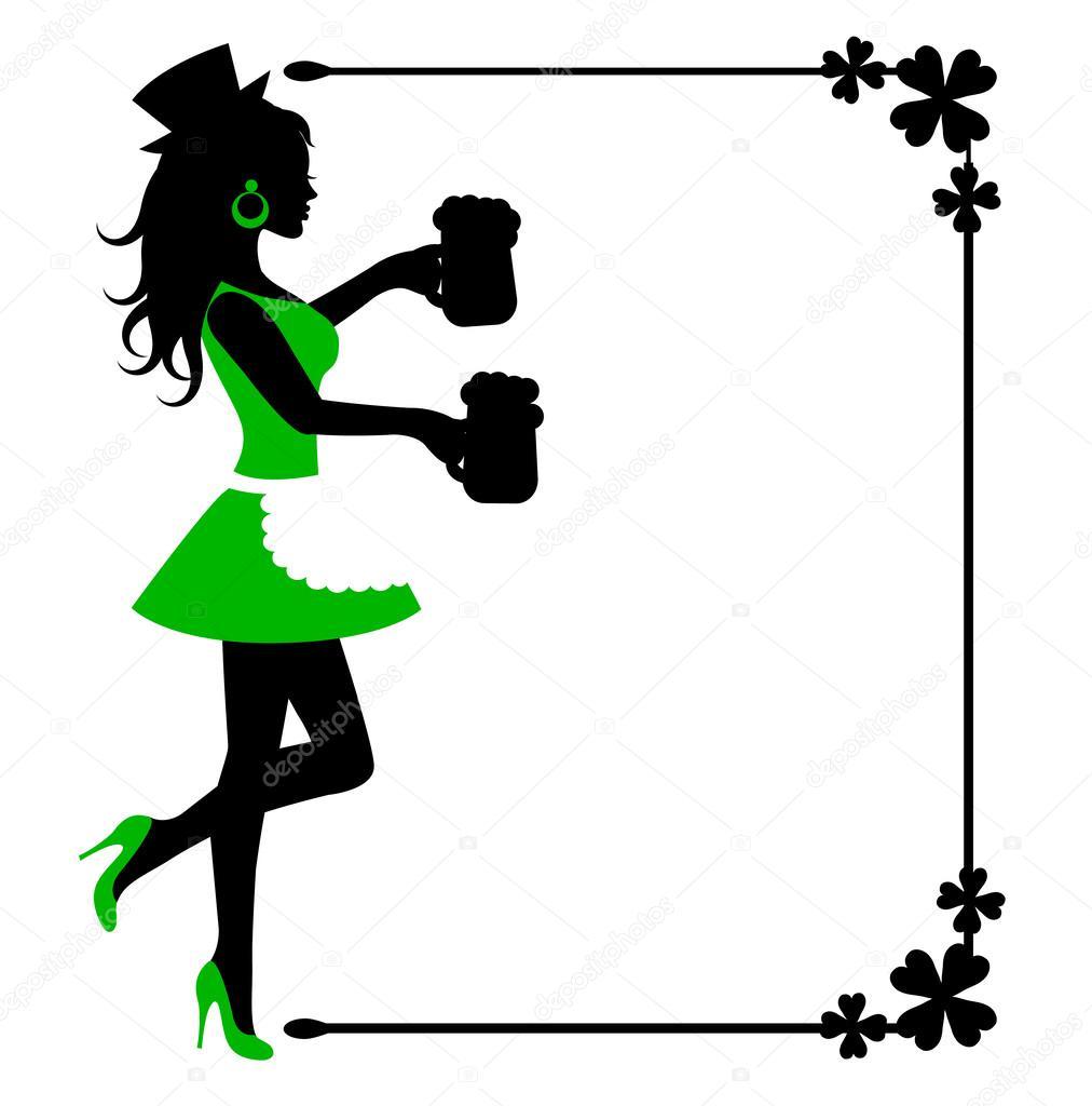 silueta femenina con jarras de cerveza y el marco con el trébol ...