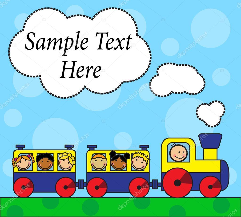 cartoon lokomotive und alleinreisende kinder stockvektor olgasuslo 41820299. Black Bedroom Furniture Sets. Home Design Ideas