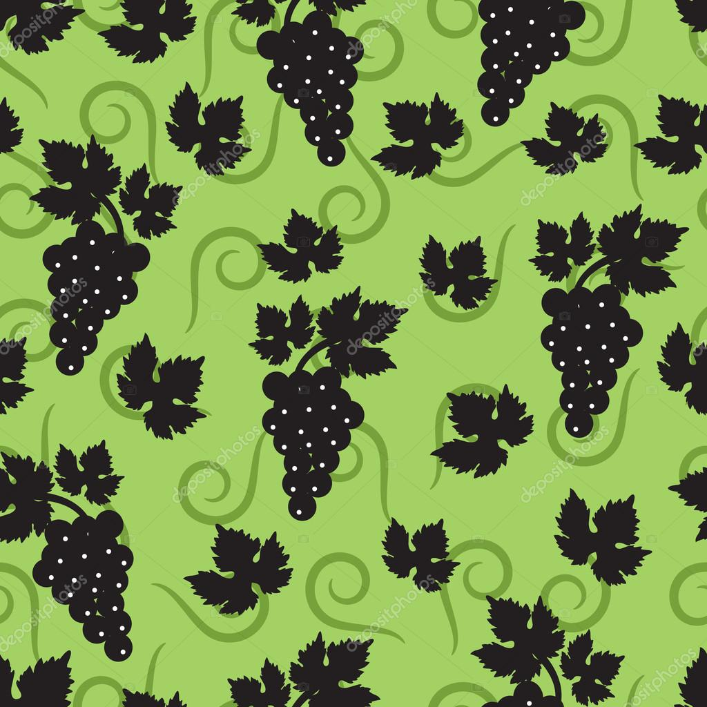 Seamless green background with leaves and grapes