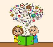 Fotografie Cartoon Kinder ein Buch lesen