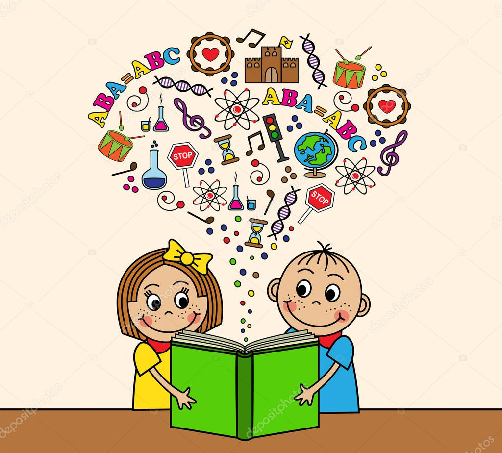 Dessin Anime Enfants Lire Un Livre Image Vectorielle