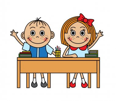 Cartoon children sitting at school desk