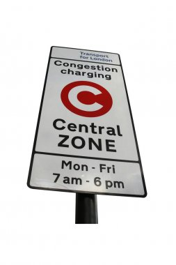London congestion charge zone sign