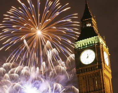 2013, Fireworks over Big Ben at midnight