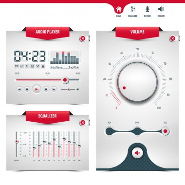 Audio player design with three control navigation panels, eps10 stock vector