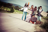 Photo Hippie Group Hitchhiking on a Countryside Road