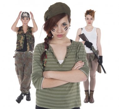 Studio shots of a young woman with rifle stock vector
