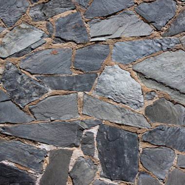 Granite gray flagstone pavement wall