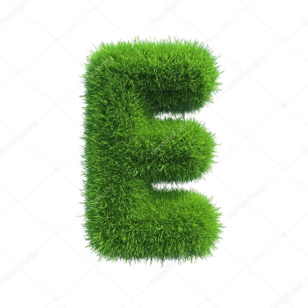 Grass letter E isolated on white background