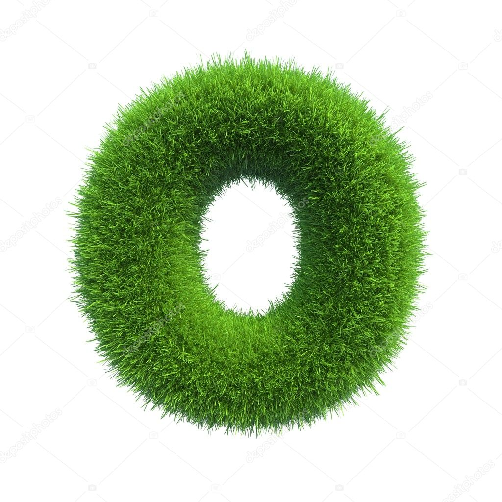 Grass letter O isolated on white background