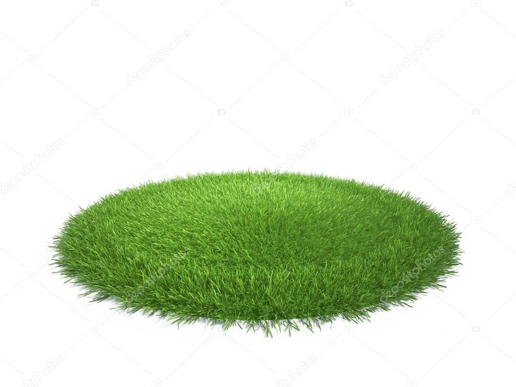 A round piece of cropped grass to be installed