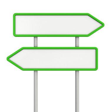 Blank green arrow signs