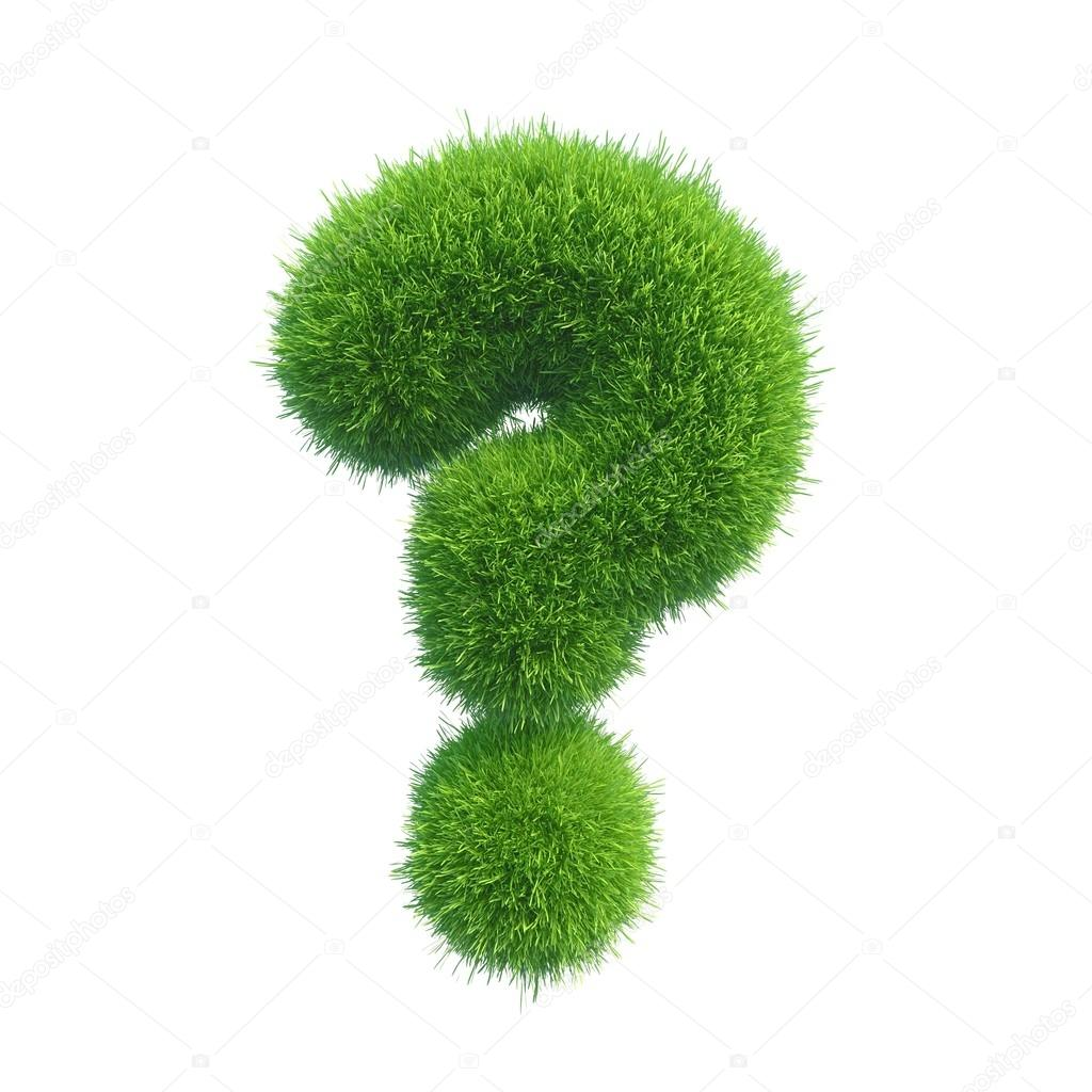 Question sign grass isolated on white background