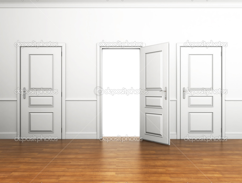 Stock Room Doors : Room with three doors and one of them open — stock photo