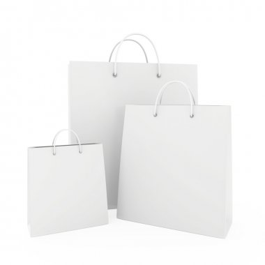 Three white blank paper bags