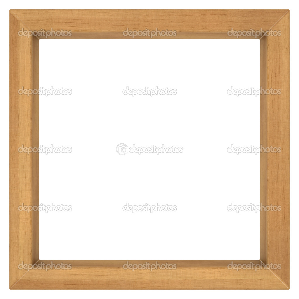 square wooden frame on white background — Stock Photo ...