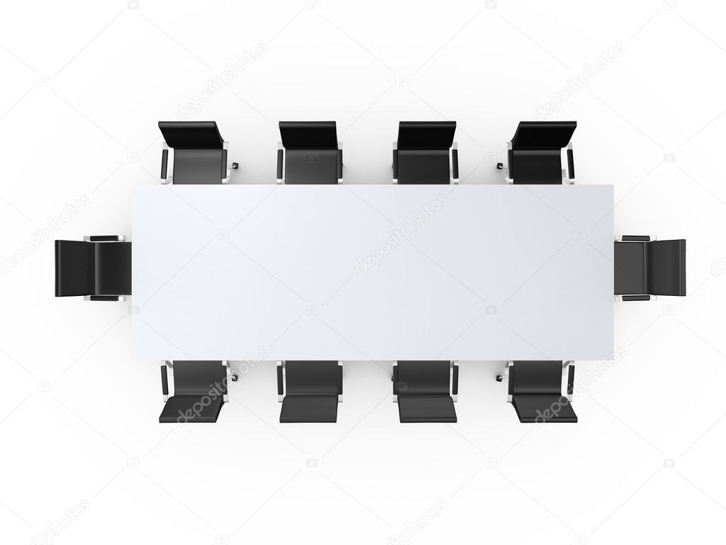 table and chairs top view. Conference Table And Black Office Chairs In Meeting Room, Top View, Isolated On White Background. \u2014 Photo By Niglaynike View G