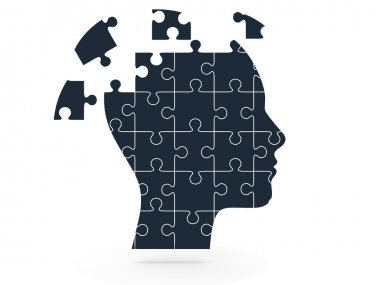 Human Head and Puzzle Pieces