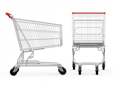Empty shopping carts, side view and front view, isolated on white background. stock vector