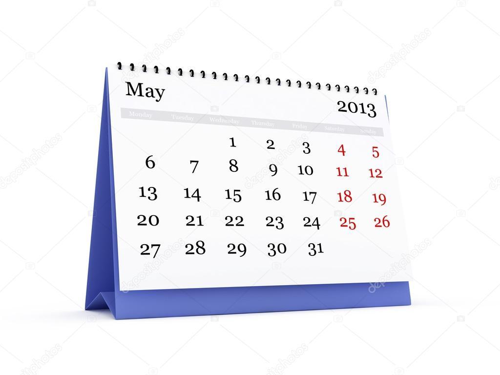 calendário de mesa maio 2013 stock photo niglaynike 30420231