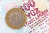 moneta di lira turca su banconota