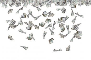 Dollar Banknotes Flying and Raining