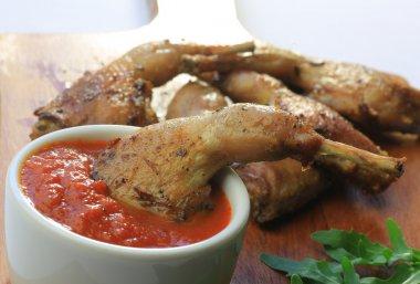 food, fried quail, potatoes,