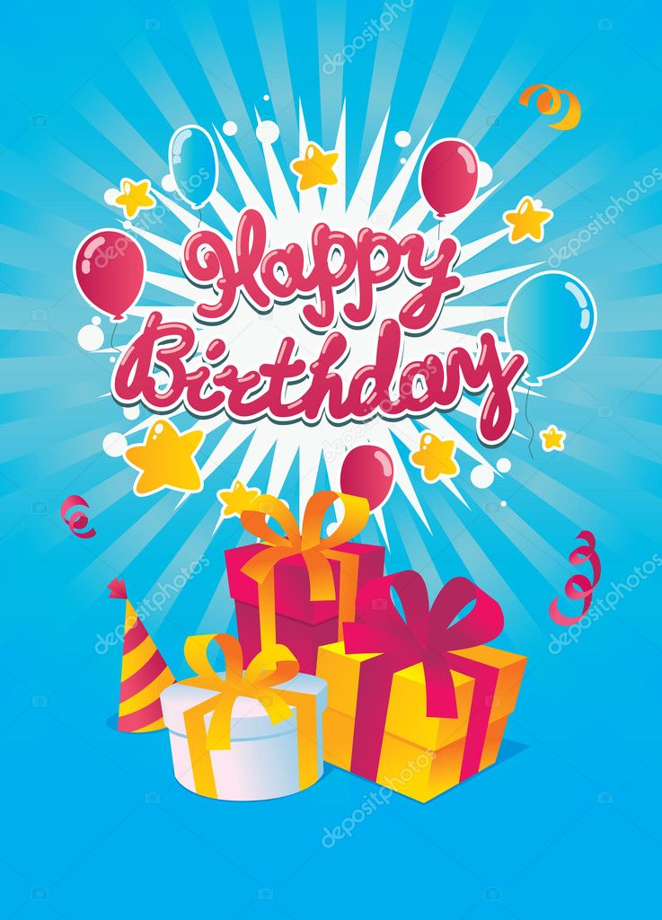 Gelukkige Verjaardag Vector Kaart Stockvector C Natashin 13656709