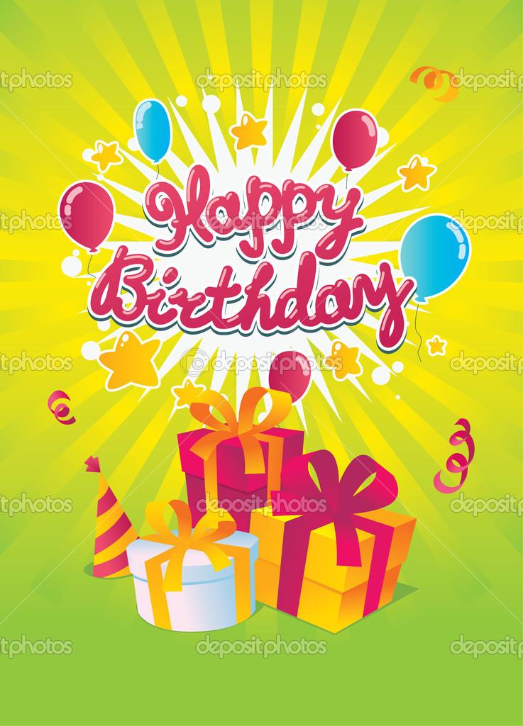 Gelukkige Verjaardag Vector Kaart Stockvector C Natashin 13656715