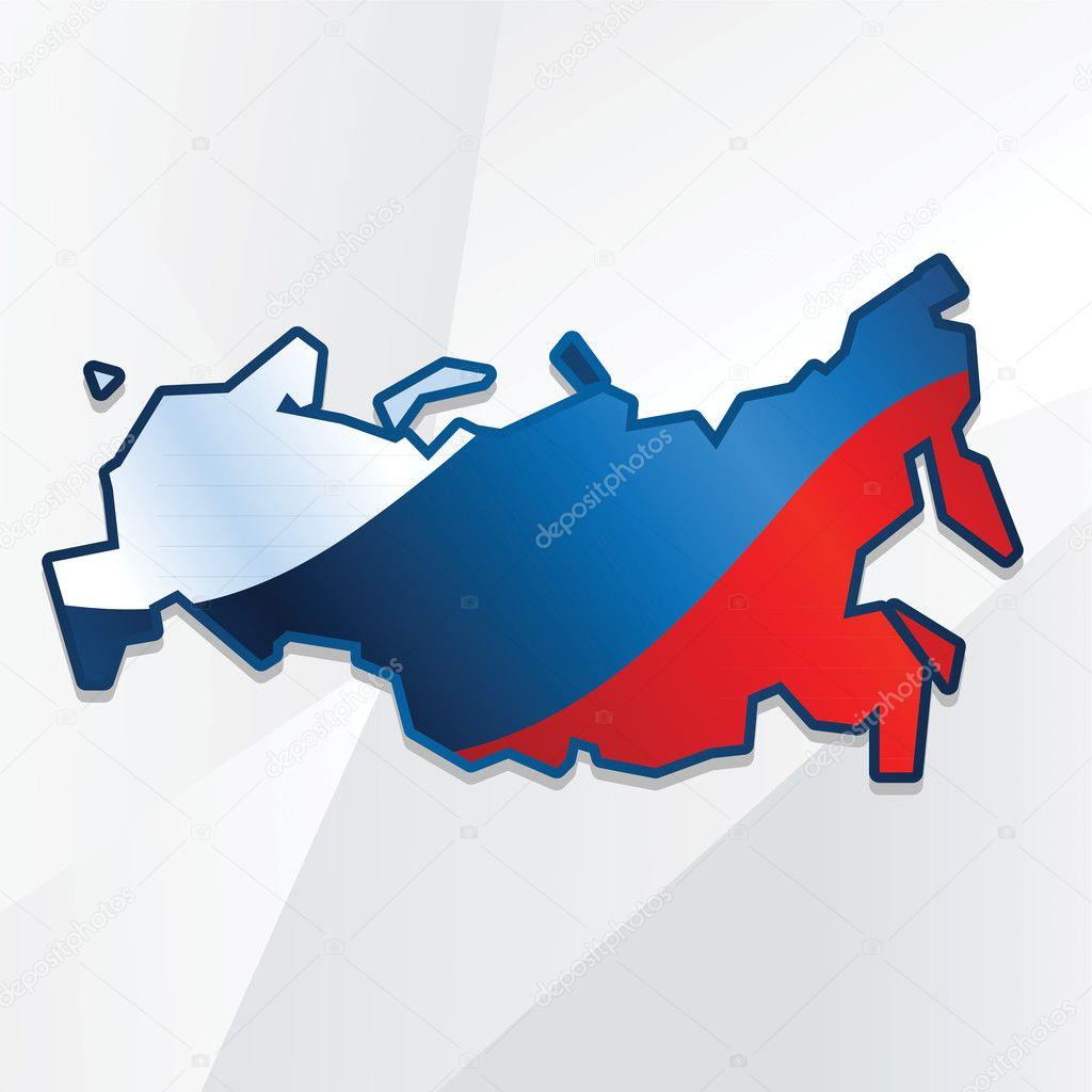 Abstract Russia map with flag Stock Vector natashin 18441291