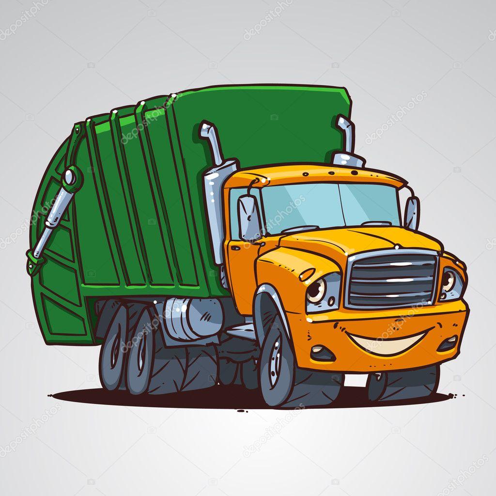 Personnage De Dessin Animé Poubelle Camion Image