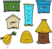 Fényképek Méh csalánkiütés és a beehive a fán
