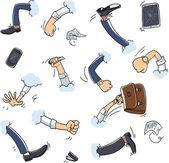 Business fight cartoon hands