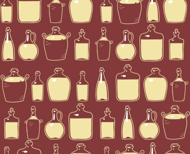Printglass bottles with alcohol drink. seamless pattern