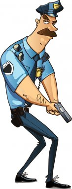 Police officer on the job. cop holds a weapon in the hands